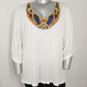 Baby Phat Embellished Lace Dolman Sleeve Top 2X